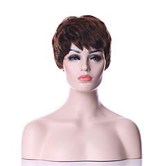 billiga Peruker och hårförlängning-Syntetiska peruker Rak / Lockigt Syntetiskt hår 6 tum Brun Peruk Dam Korta Utan lock Brun