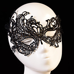 cheap Party Headpieces-Black Sexy Lady Lace Mask Cutout Eye Mask for Masquerade Party Fancy Dress Costume