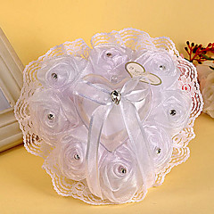 cheap Wedding Ceremony-Gauze And Lace Element Heart Shape Ring Pillow Wedding Ceremony