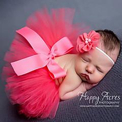billige Babykjoler-Baby Pige Sød Stil Ensfarvet Sløjfer Kjole