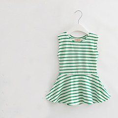 tanie Odzież dla dziewczynek-Brzdąc Dla dziewczynek Prążki Codzienny Nadruk Bez rękawów Bawełna Sukienka Zielony