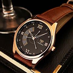 YAZOLE Herrn Kleideruhr Quartz Armbanduhren für den Alltag Leder Band Schwarz Braun