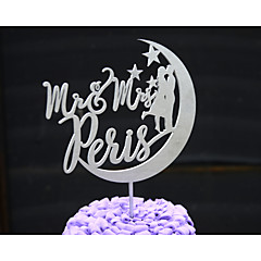 billige Kakedekorasjoner-Kakepynt Personalisert Klassisk Par / Hjerter Kort Papir Bryllup / Jubileum / Bridal Shower Blomster SølvBlomster Tema / Klassisk Tema /
