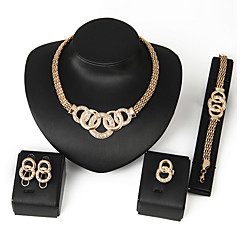 cheap Jewelry Sets-Women's Cubic Zirconia Link / Chain Bib Jewelry Set - Africa Include Necklace Earrings Bracelet Ring Silver / Golden For Wedding Party Daily Casual / Rings / Bracelets & Bangles