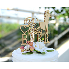 Kakepynt Personalisert Klassisk Par Hjerter Kort Papir Bryllup Jubileum Utdrikkingslag Blomster GulBlomster Tema Klassisk Tema Eventyr