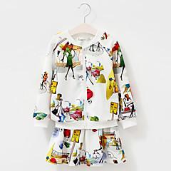 billige Tøjsæt til piger-Baby Pige Tegneserie Trykt mønster Langærmet Bomuld Tøjsæt