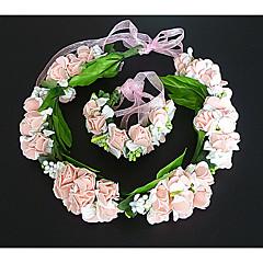 成人用 ファブリック かぶと-結婚式 ティアラ 2個 ピンク / ホワイト 花型 54cm