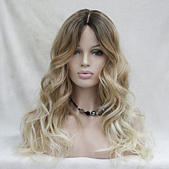 cheap Wigs & Hair Pieces-quality heat resistant ombre dark brown to blonde wavy long wig small edge lace front