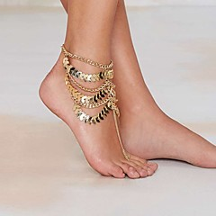cheap Body Jewelry-Women's Anklet / Bracelet Gold Plated Alloy Unique Design Tassel Vintage Sexy Multi Layer Statement Jewelry Fashion European Anklet