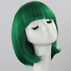 baratos Perucas Sintéticas-Perucas sintéticas / Perucas de Fantasia Liso Corte Bob Cabelo Sintético Verde Peruca Mulheres Sem Touca Verde