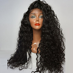 ieftine Peruci Dantelă Sintetice-Lănțișoare frontale din sintetice Buclat Partea laterală 180% Human Densitate par Păr Sintetic Rezistent la Căldură / Linia naturală de păr / Perucă Americană Africană Negru Perucă Pentru femei Fa