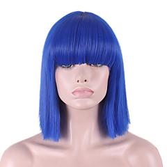 billiga Peruker och hårförlängning-Dam Syntetiska peruker Utan lock Rakt yaki Blå Bob-frisyr Med lugg Cosplay Peruk Halloween Paryk Karneval peruk kostym peruker