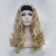 billiga Peruker och hårförlängning-Syntetiska peruker Vågigt Syntetiskt hår Blond Peruk Dam Halv Peruk / Halloween Paryk / Karneval peruk Utan lock