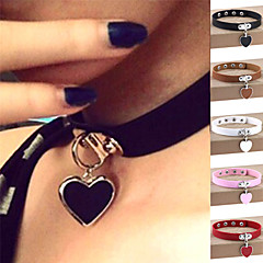 cheap Necklaces-Women's Heart Leather Silver Plated Choker Necklace Pendant Necklace Collar Necklace - Personalized Vintage Casual Sexy Love Fashion