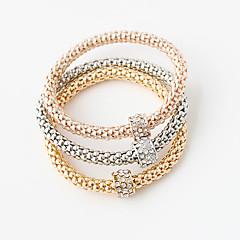 צמידים צמידי גלישה סגסוגת Round Shape שכבה כפולה חתונה / Party תכשיטים מתנות מוזהב,1set