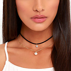 Dame Kort halskæde Tatovering Choker Cirkelformet Perle Stof Simuleret diamant Enkelt design Tatovering Europæisk Mode Personaliseret