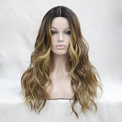 abordables Perruques Synthétiques-Perruque Synthétique Ondulé Coupe Dégradée Cheveux Synthétiques Résistant à la chaleur A Ombre Perruque Femme Long Perruque Dentelle Sans