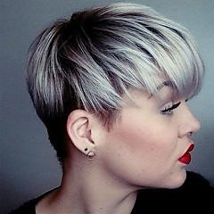 billiga Peruker och hårförlängning-Human Hair Capless Parykar Äkta hår Rak Frisyr i lager Mörka hårrötter / Med Bangs Silver / Svart / Blond Korta Utan lock Peruk Dam