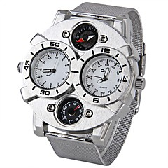 cheap Men's Watches-Oulm Men's Quartz Japanese Quartz Military Watch Thermometer Dual Time Zones Compass Stainless Steel Band Cool Silver