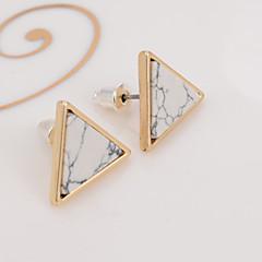 Homens Mulheres Feminino Brincos Curtos Turquesa Europeu Chapeado Dourado Turquesa Liga Forma Geométrica Triangular Jóias Para Casual