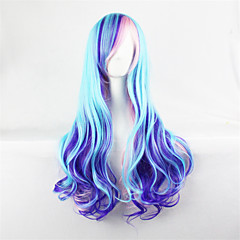 cheap Wigs & Hair Pieces-blue mixed purple wig cosplay long wavy curly wig heat resistant synthetic wigs Halloween