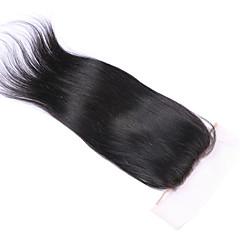 billiga Peruker och hårförlängning-Brasilianskt hår 3.5x4 Stängning Rak / Klassisk / Silky rakt Mittparti / 3 Del / Sidodel Schweizisk spetsperuk Äkta hår Dagligen