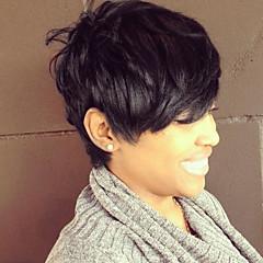 billige Lågløs-Human Hair Capless Parykker Menneskehår Klassisk / Naturligt, bølget hår Paryk Daglig