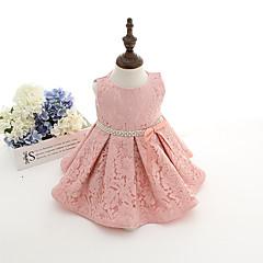 billige Babykjoler-Baby Pige Fest Ensfarvet Uden ærmer Bomuld Kjole Lys pink