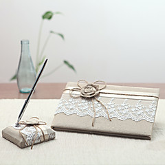 cheap Guest Book & Pen Sets-Linen Garden ThemeWithRibbons Pen Set Guest Book