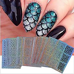 baratos Cuidados de Unhas-24 pcs Portátil / Forma Geométrica / Decalques de unha Etiqueta da folha Ferramenta de arte de unhas