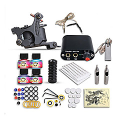 cheap Clearance-DRAGONHAWK Tattoo Machine Starter Kit - 1 pcs Tattoo Machines with 4 x 5 ml tattoo inks, Professional, Safety, Easy to Install Alloy Mini power supply Case Not Included 1 cast iron machine liner