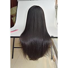 billiga Peruker och hårförlängning-Äkta hår Spetsfront Peruk Rak 130% Densitet Naturlig hårlinje / Afro-amerikansk peruk / 100 % handbundet Dam Korta / Mellan / Lång Äkta peruker med hätta