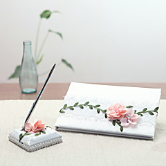 cheap Wedding Ceremony-Satin Garden Theme Floral Theme Fairytale ThemeWithPetal Pen Set Guest Book
