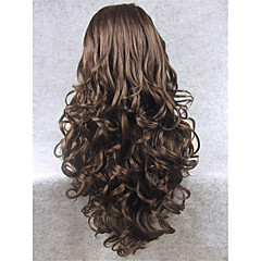 cheap Synthetic Lace Wigs-Synthetic Wig Women's Wavy Brown Synthetic Hair Natural Hairline Brown Wig Long Lace Front Brown