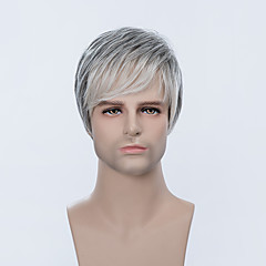 cheap Wigs & Hair Pieces-Fashion Cool Short Capless Wigs Natural Straight Human Ombre Hair For Men