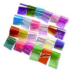 billige Negleklistremerker-24pcs/set Klistremerker & Tape / Folie-klistremerke / Nail Sticker Glamorøst glitter / Speil Effekt / Nail Decals Nail Art Design