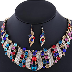 Women's Jewelry Set Earrings Statement Necklaces Luxury Wedding Party Special Occasion Synthetic Gemstones Rhinestone Rose Gold Plated