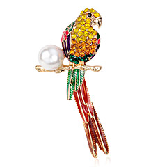 cheap Brooches-Women's Brooches Luxury Pearl Parrot Jewelry For Party Daily Casual