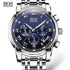 AngelaBOS Herren Kleideruhr Modeuhr Armbanduhr Quartz Kalender Edelstahl Band Bequem Weiß Weiß Schwarz Blau