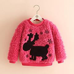 billige Pigetoppe-Baby Pige Tegneserie Daglig / I-byen-tøj Patchwork Langærmet Normal Bomuld Hættetrøje og sweatshirt Rosa 100