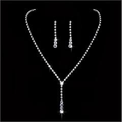 tanie -Biżuteria 1 Naszyjnik 1 parę kolczyków Rhinestone Ślub Impreza Stop Kryształ górski 1set Damskie Biały Prezenty ślubne
