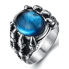 Herre uttalelse Ringe Ring Mote Syntetiske Edelstener Titanium Stål Smykker Til Daglig Avslappet