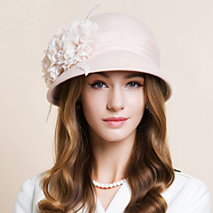 cheap Party Hats-Wool Chiffon Feather Fascinators Hats Headwear with Floral 1pc Wedding Special Occasion Casual Headpiece