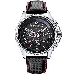 MEGIR Homens Relógio Esportivo / Relógio Militar / Relógio de Pulso Calendário Couro Legitimo Banda Amuleto / Luxo / Vintage Preta / Aço Inoxidável / Dois anos / Sony SR626SW