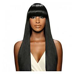 billiga Peruker och hårförlängning-Äkta hår Spetsfront Peruk Rak Peruk 130% Hårtäthet Naturlig hårlinje Afro-amerikansk peruk 100 % handbundet Dam Mellan Lång Äkta peruker med hätta