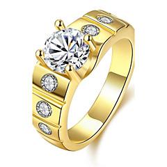 Ring Kubisk Zirkonium Zirkonium Kubisk Zirkonium Kobber Sølvplett Gullbelagt Gullplatert rose Mote Gull Sølv Rose Smykker Daglig Avslappet