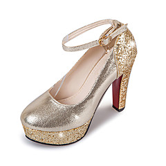 Women's Heels Spring Summer Fall Winter Ankle Strap Leatherette Wedding Party & Evening Dress Chunky Heel Platform Sequin Rose Gold Sliver