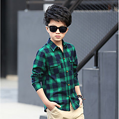 tanie Odzież dla chłopców-Dzieci Dla chłopców Kratka Długi rękaw Bawełna Koszula
