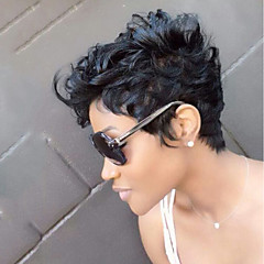 זול פיאות ותוספות שיער-שיער ללא שיער שיער אנושי גלי טבעי תספורת שכבות פיקסי קאט עם פוני פאה אפרו-אמריקאית חלק צד קצר הוכן באמצעות מכונה פאה בגדי ריקוד נשים