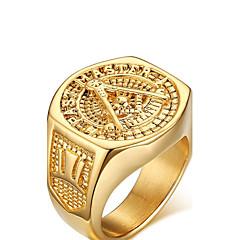 billige Motering-Herre Statement Ring - Gullbelagt Kjærlighed Personalisert 9 / 10 / 11 / 12 Gylden Til Bryllup Fest jubileum